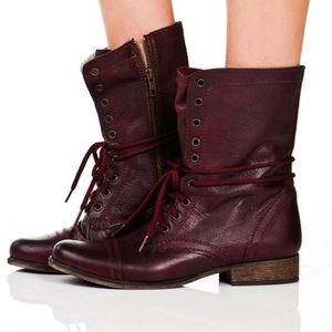 Steve Madden Leather Troopa Burgundy boots